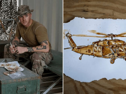Air Force combat cameraman creates art from coffee given by military
