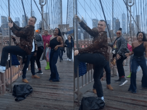 Sam Smith twerks on Brooklyn Bridge with friends and it's a mood