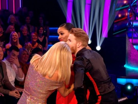 Strictly's Neil Jones and Alex Scott need freeing by Tess Daly in awkward 'sequin malfunction'