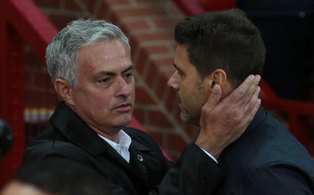 Jose Mourinho greets Mauricio Pochettino warmly at Manchester United vs Tottenham
