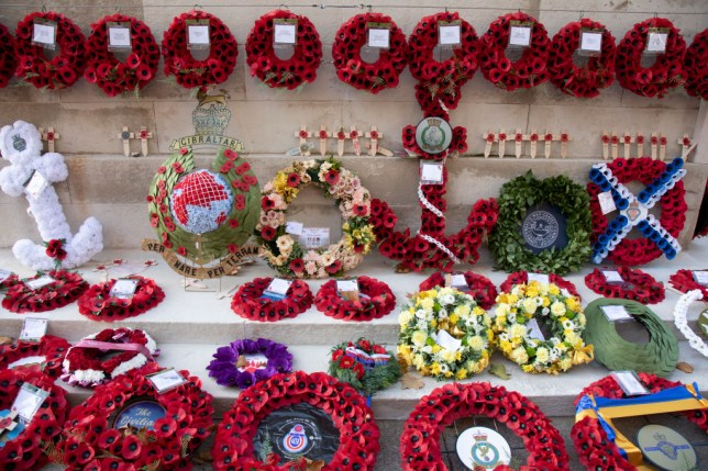 Wreaths And Poppies Of Remembrance In London