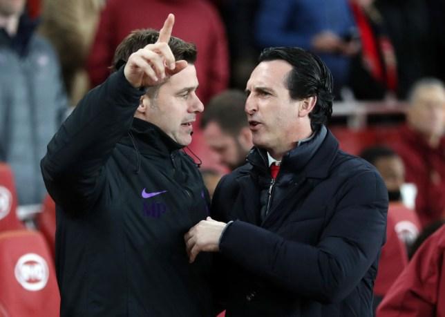 Mauricio Pochettino and Unai Emery during Tottenham's clash with Arsenal last December