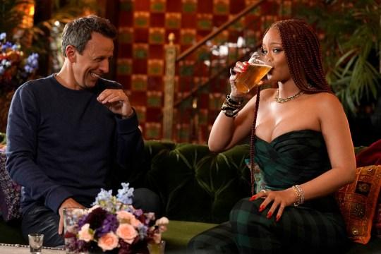 Seth Meyers and Rihanna