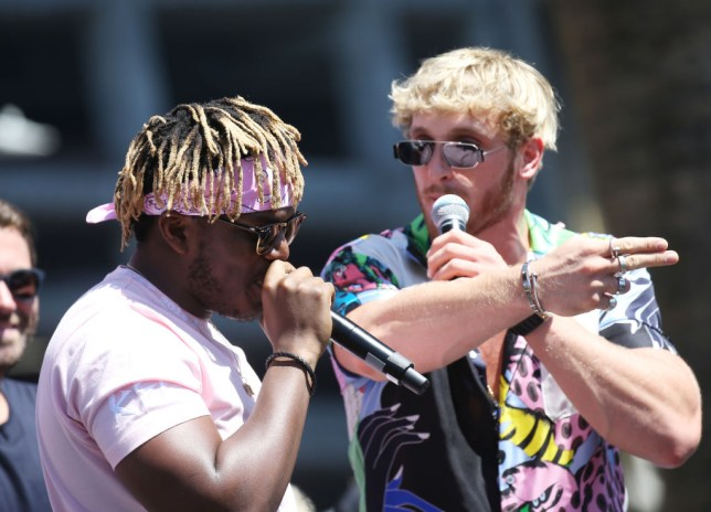 KSI and Logan Paul at a press conference for their rematch