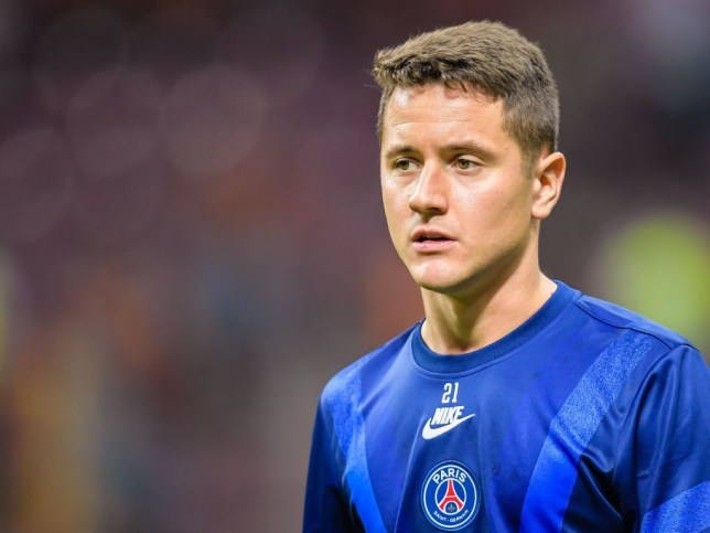 Ander Herrera looks on during a warm up before PSG's game against Galatasaray