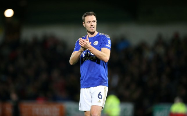 Jonny Evans claps the fans after a Leicester City game