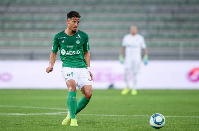 William Saliba passes the ball during Saint-Etienne's game against Amiens