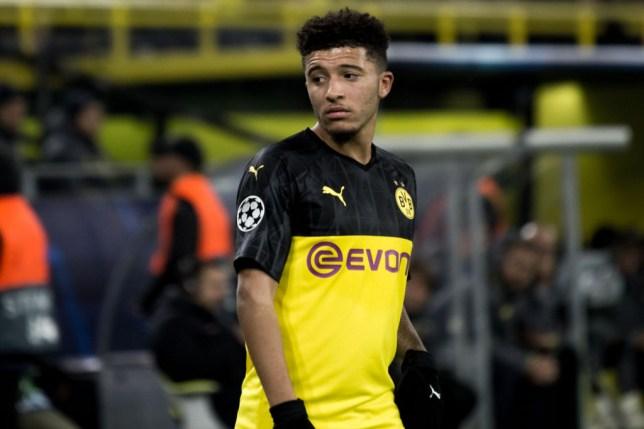 Jadon Sancho looks a bit dejected in action for Borussia Dortmund