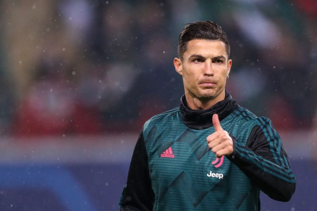 Cristiano Ronaldo gives the thumbs up during a warm-up session before a Juventus game