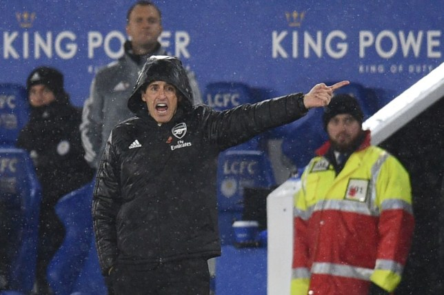 Unai Emery points and shouts from the touchline during Arsenal's game against Leicester City