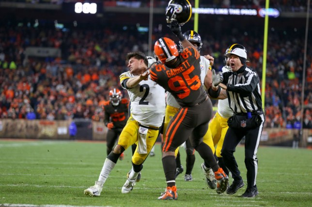 Cleveland Browns defensive end Myles Garrett hit Mason Rudolph of the Pittsburgh Steelers with his helmet