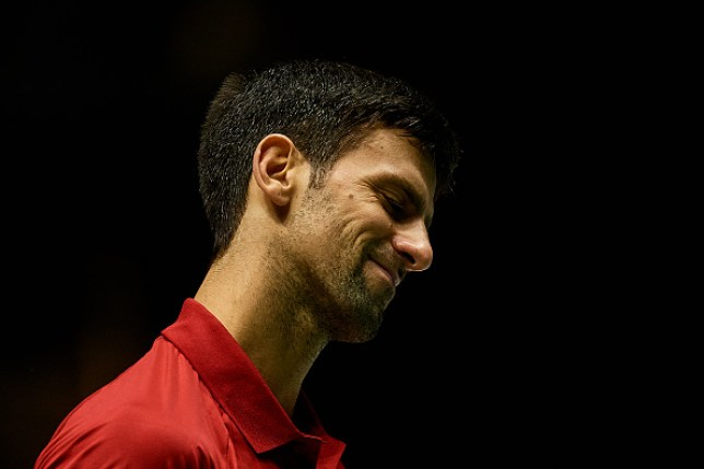 Novak Djokovic looks frustrated during Serbia's Davis Cup exit to Russia