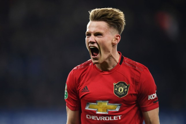 Scott McTominay celebrates after Manchester United's win against Chelsea