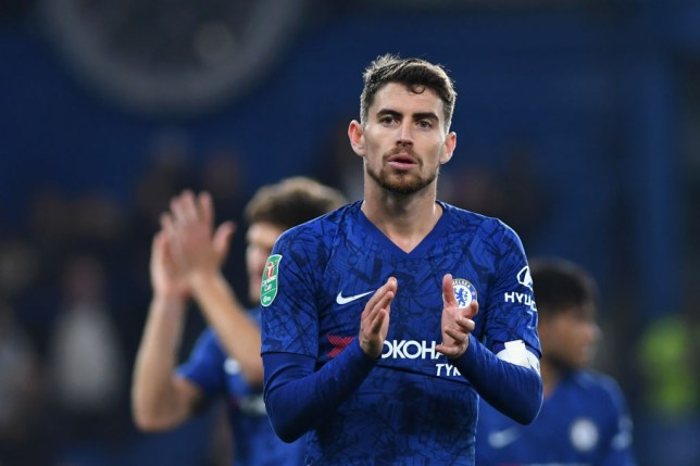 Jorginho applauds Chelsea supporters after the defeat against Arsenal
