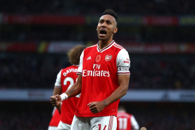 Pierre-Emerick Aubameyang celebrating after his goal against Wolves