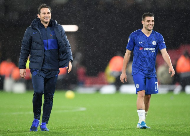 Frank Lampard smiles alongside Mateo Kovacic after Chelsea beat Watford