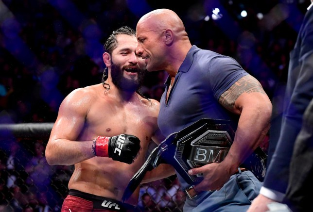 """Dwayne """"the Rock"""" Johnson speaks with Jorge Masvidal after his UFC fight with Nate Diaz"""
