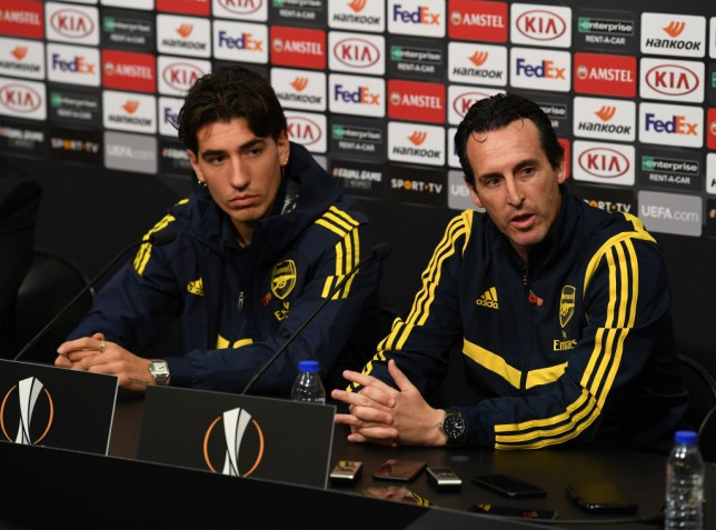 Hector Bellerin and Unai Emery faced the press before Arsenal's Europa League match against Vitoria