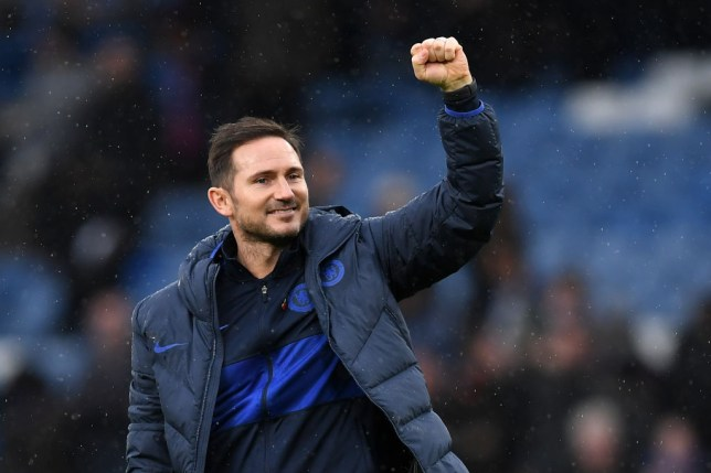 Frank Lampard punches the air in celebration after a Chelsea game