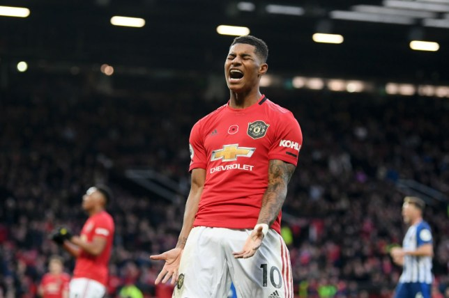 Marcus Rashford scored during Manchester United's win over Brighton but produced an astonishing miss