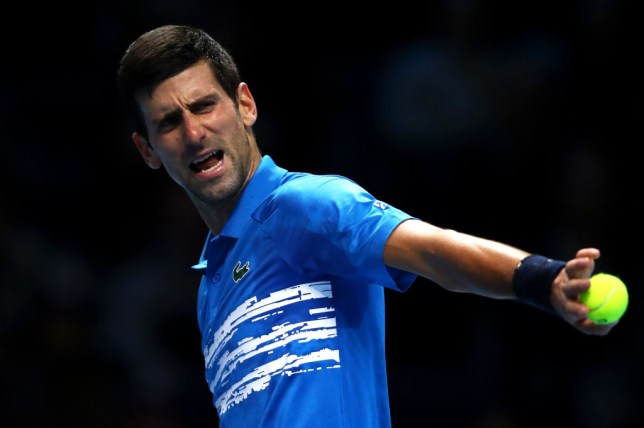 Novak Djokovic reacts during his ATP Finals defeat to Dominic Thiem