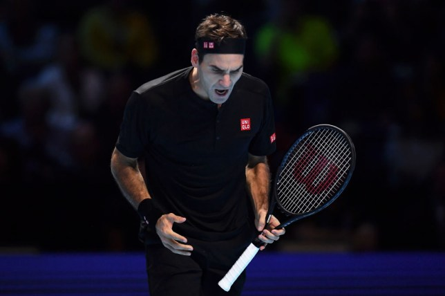 Roger Federer roars with frustration during his ATP Finals defeat to Stefanos Tsitsipas