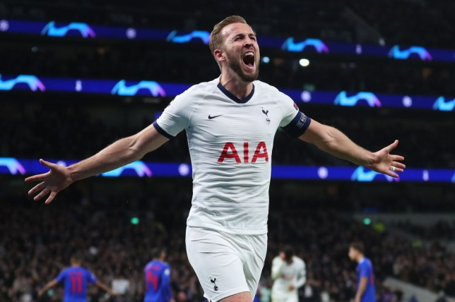 Harry Kane celebrates scoring in the Champions League for Tottenham Hotspur against Olympiacos