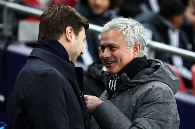Jose Mourinho with Tottenham manager Mauricio Pochettino
