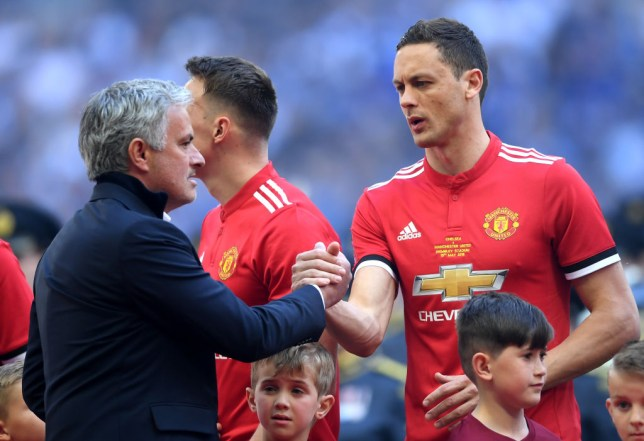Jose Mourinho and Nemanja Matic shake hands during their time together at Manchester United (Picture: Getty)