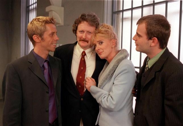 Coronation Street: Episode 4939: Thursday 30 November 2000 at 7.30pm. Jim McDonald (CHARLES LAWSON) and Liz McDonald (BEVERLY CALLARD) get married. Also pictured, Andy McDonald (Nick Cochrane), Steve McDonald (Simon Gregson)....1/0694/4939