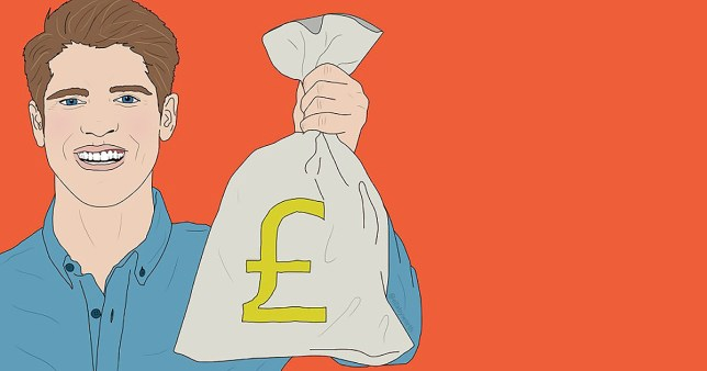 An illustration of a man holding a large bag with a pound sign on it, on an orange background