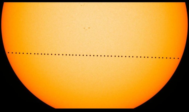 A timelapse image showing Mercury making its transit across the sun's face (Nasa Goddard Space Center)