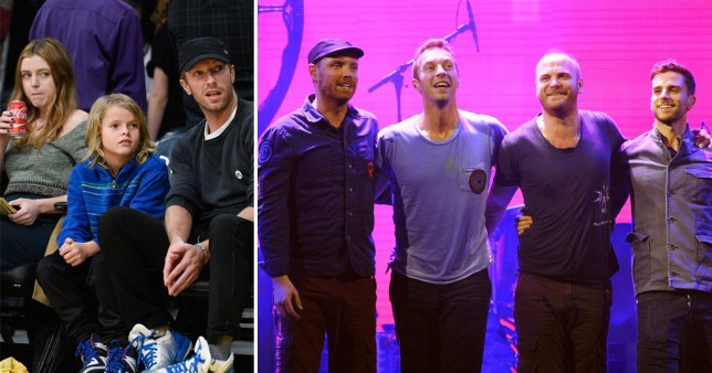 Chris Martin and his children, Apple and Moses, and Colplay together