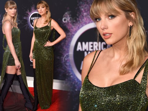 Taylor Swift slays on the American Music Awards red carpet after reigniting Scooter Braun feud