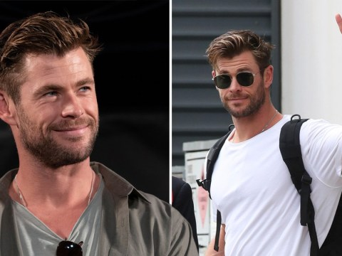 Chris Hemsworth is all peace signs and smiles after landing back home in Australia after Tokyo visit