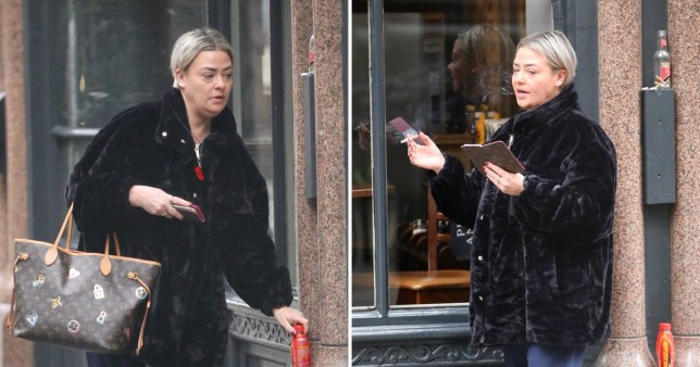 Lisa Armstrong takes a ciggie and phone break
