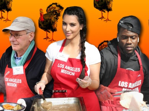 What really happens when Kim Kardashian, Harrison Ford and other celebs hand out turkeys for Thanksgiving