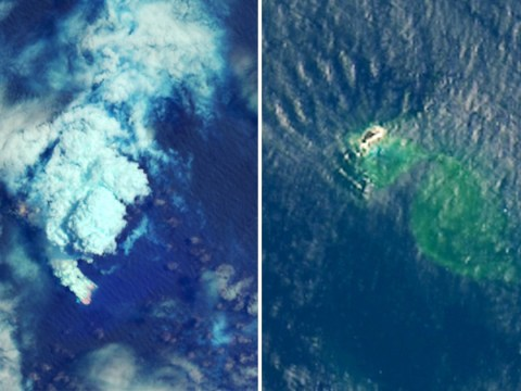Undersea volcanic eruption creates new island in the Pacific