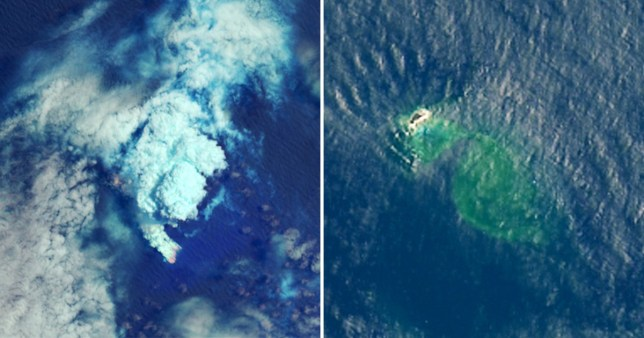The new island seen in satellite images