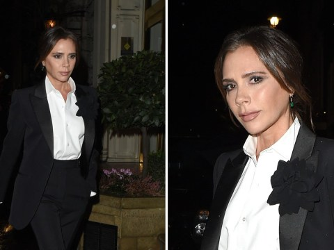 Victoria Beckham is height of elegance in tuxedo at flagship store's Christmas party