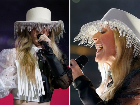 Ellie Goulding pulls off a lampshade hat during Texas performance and we have no idea how