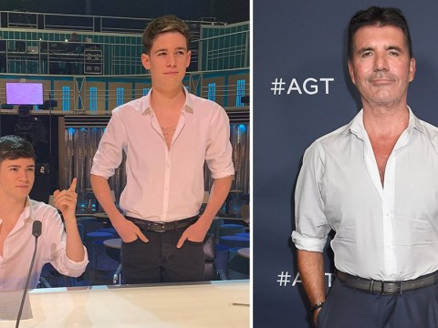 X Factor Celebrity's Max and Harvey plead with Simon Cowell to not kick them off the show after Halloween prank
