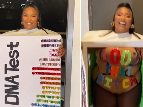 Lizzo puts plagiarism drama behind her as she dresses up as DNA test for Halloween