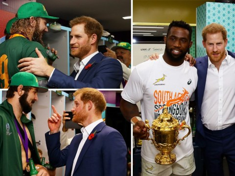 Prince Harry congratulates South African team on winning the World Cup