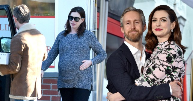 Pregnant Anne Hathaway is blooming gorgeous on errand run with husband Adam Shulman