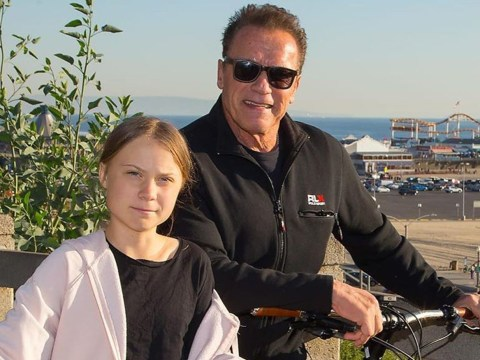 Arnold Schwarzenegger goes for a bike ride with 'friend and hero' Greta Thunberg