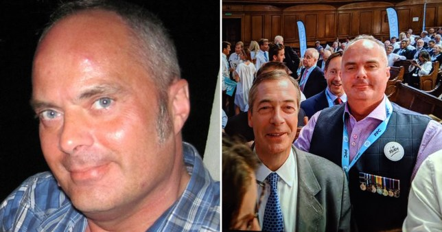 Picture of Brexit Party candidate Daniel Rudd next to picture of him with Nigel Farage