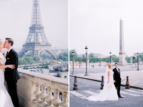 Lucky couple has Paris to themselves for wedding photos after city is deserted following riots