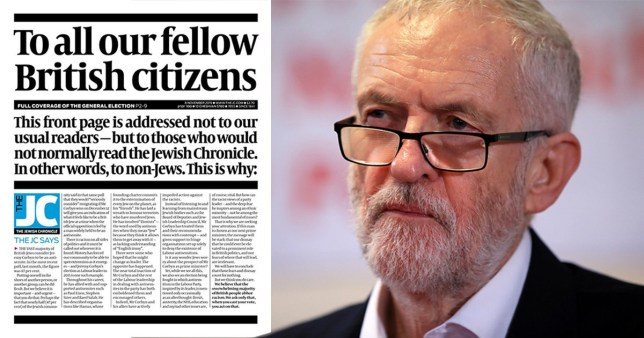 Jewish chronicle front page appeals to non-Jewish people not to vote for Jeremy Corbyn (Picture: PA)