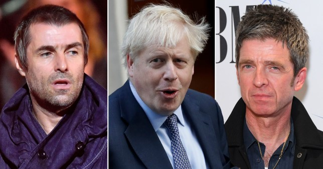 Noel and Liam Gallagher and Boris Johnson